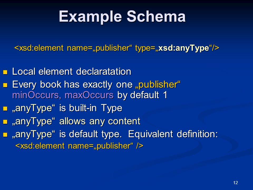 Example Schema Local element declaratation