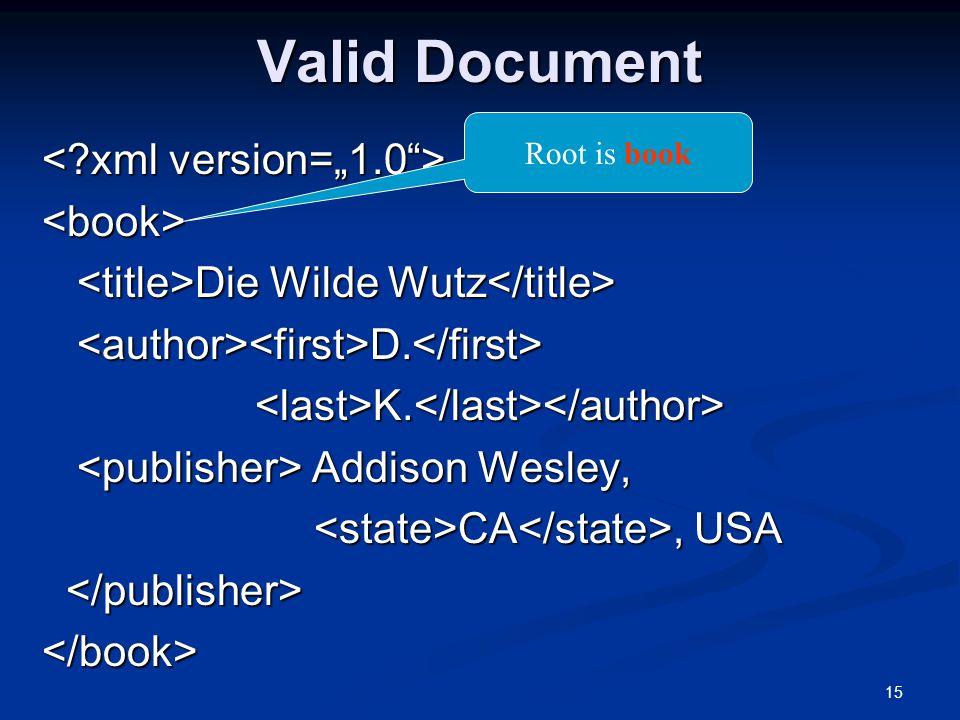 "Valid Document < xml version=""1.0 > <book>"