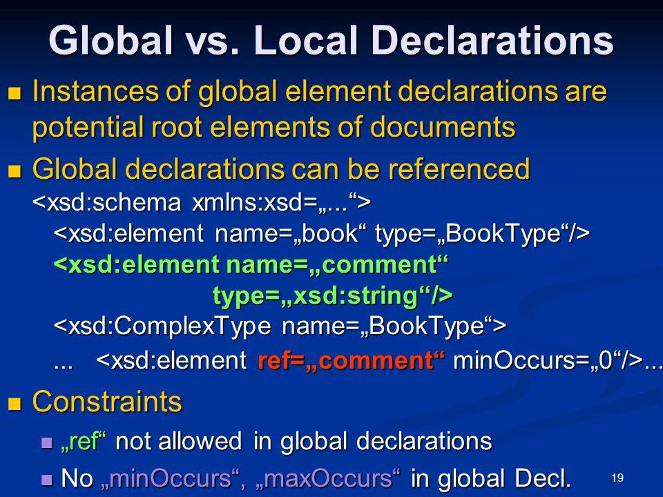Global vs. Local Declarations