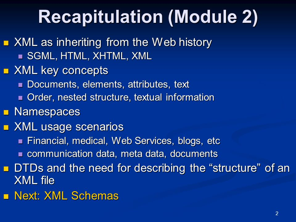 Recapitulation (Module 2)