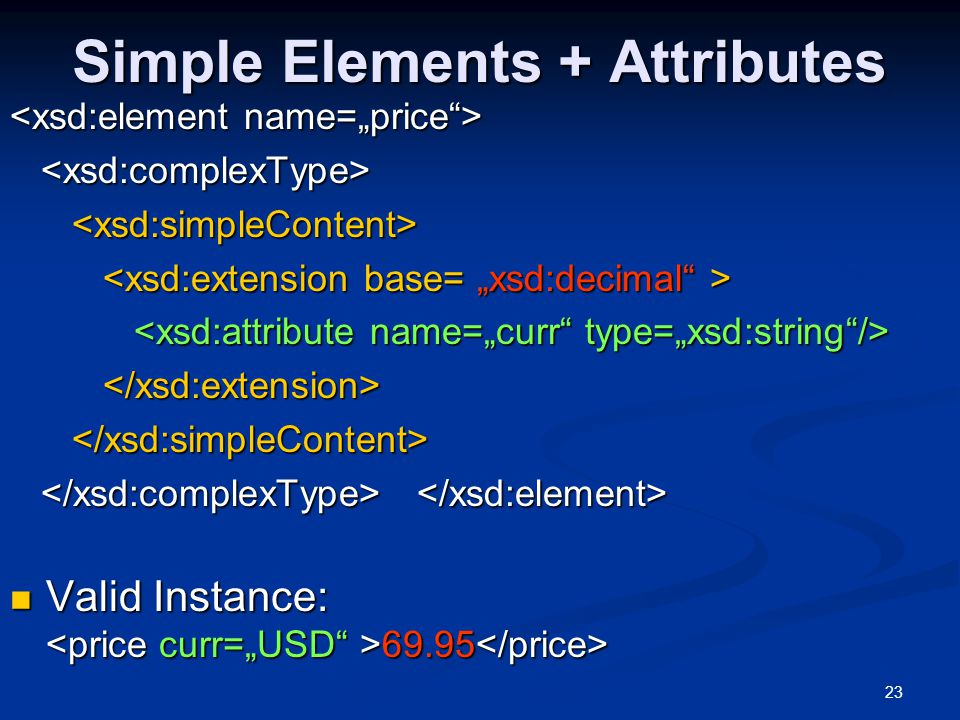 Simple Elements + Attributes