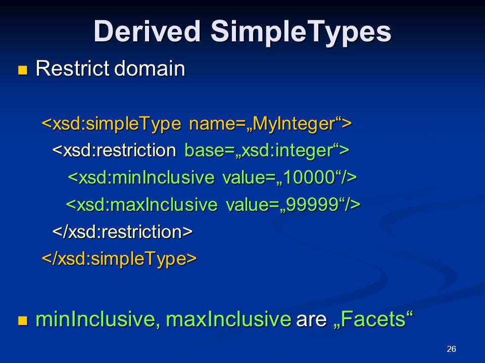 Derived SimpleTypes Restrict domain