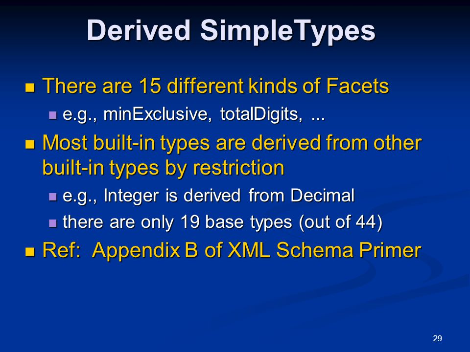 Derived SimpleTypes There are 15 different kinds of Facets