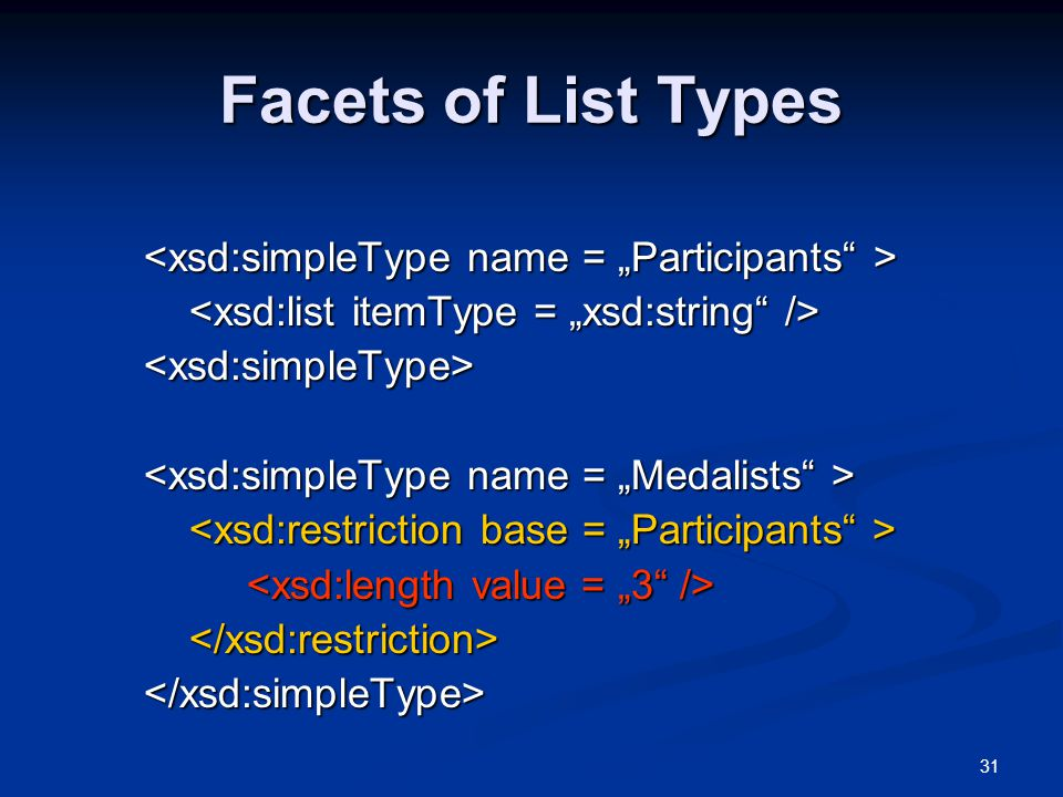 """Facets of List Types <xsd:simpleType name = """"Participants >"""