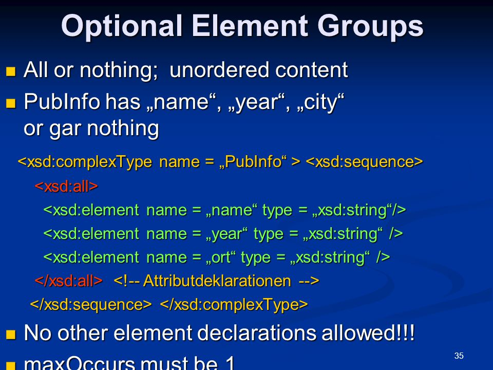 Optional Element Groups