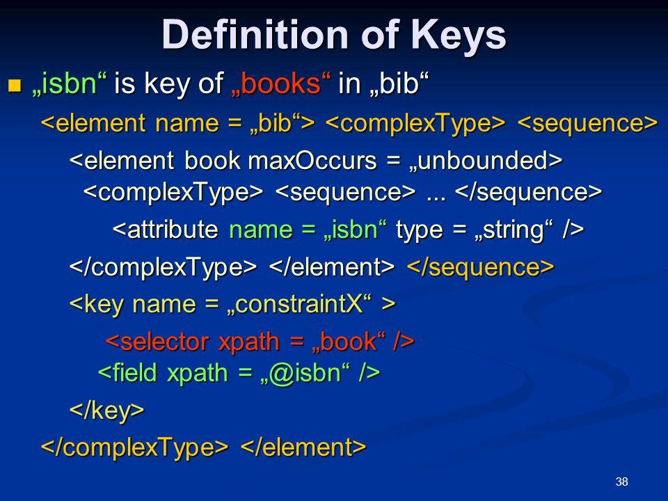 """Definition of Keys """"isbn is key of """"books in """"bib"""