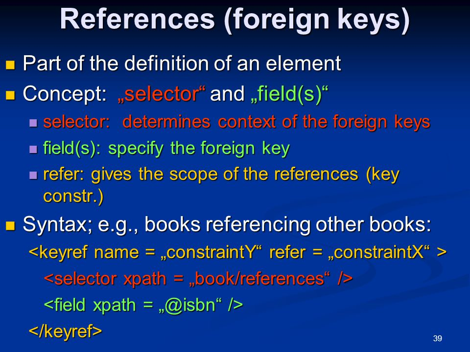 References (foreign keys)