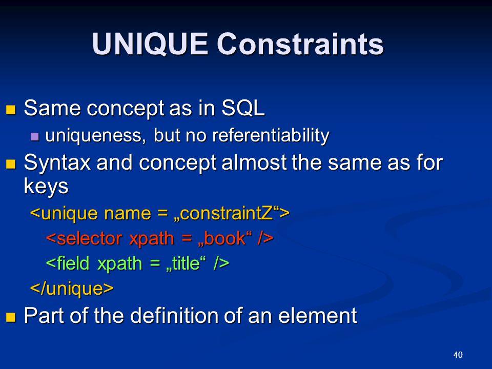UNIQUE Constraints Same concept as in SQL