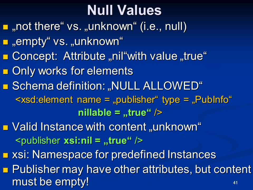 """Null Values """"not there vs. """"unknown (i.e., null)"""