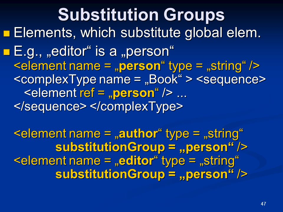 Substitution Groups Elements, which substitute global elem.