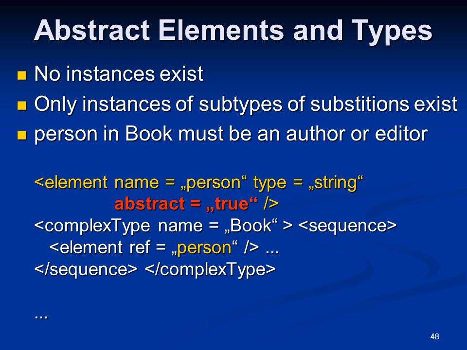 Abstract Elements and Types