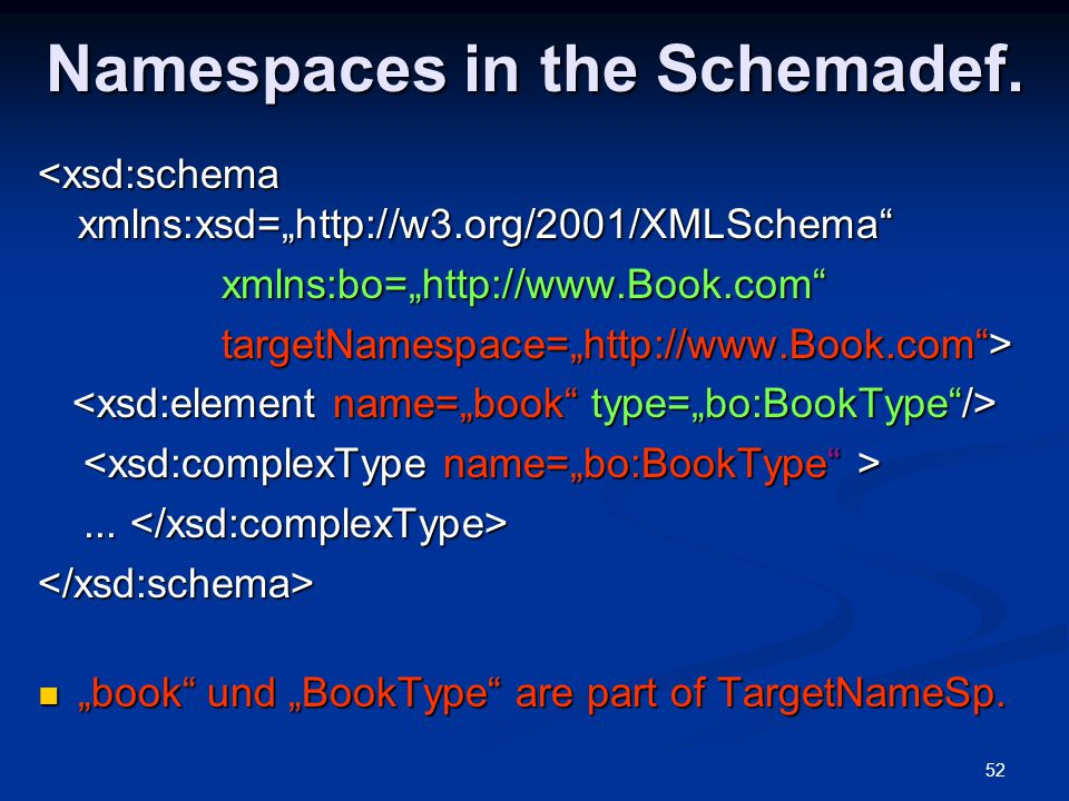 Namespaces in the Schemadef.