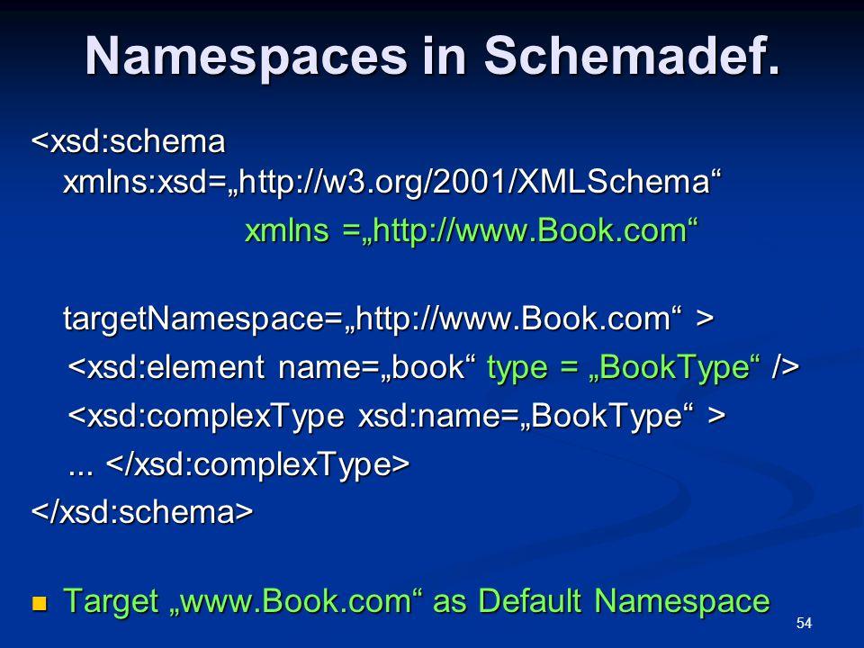 Namespaces in Schemadef.