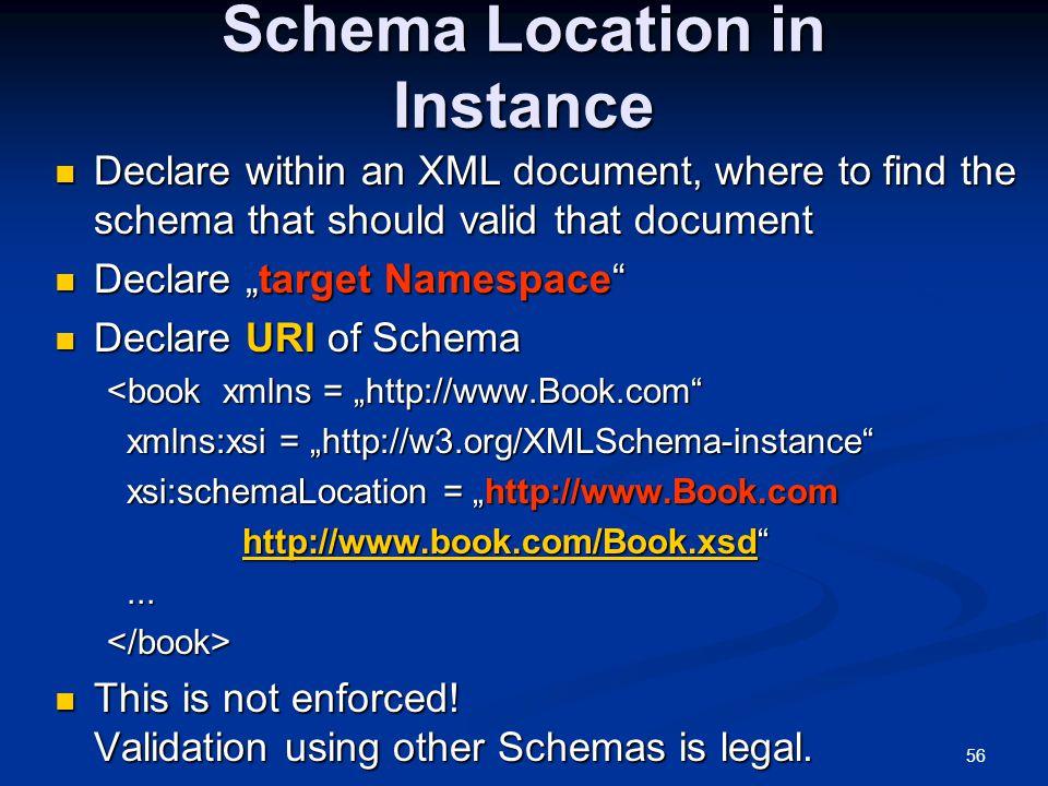Schema Location in Instance