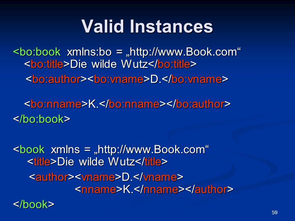 "Valid Instances <bo:book xmlns:bo = ""http://www.Book.com <bo:title>Die wilde Wutz</bo:title>"