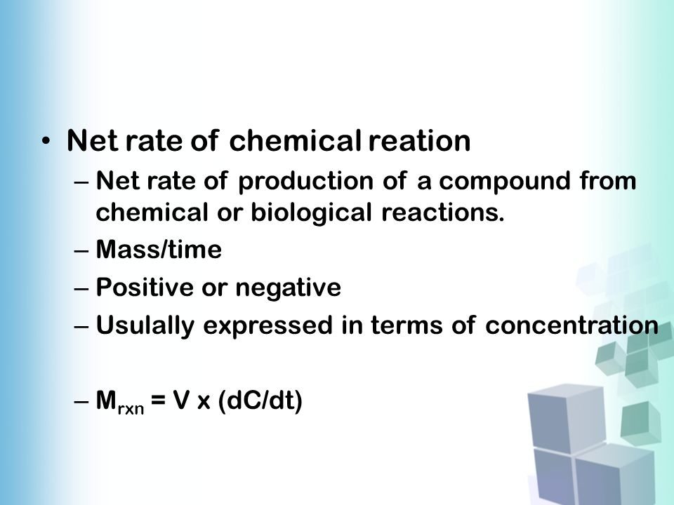 Net rate of chemical reation