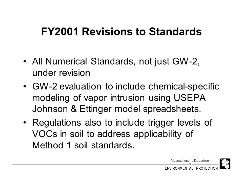 FY2001 Revisions to Standards
