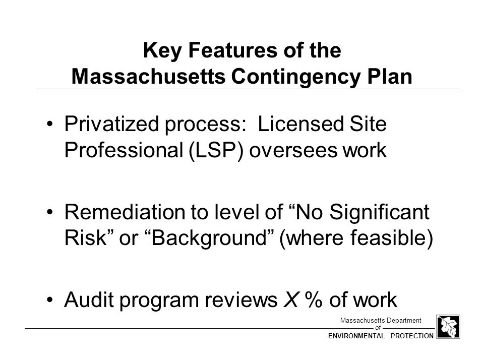 Key Features of the Massachusetts Contingency Plan