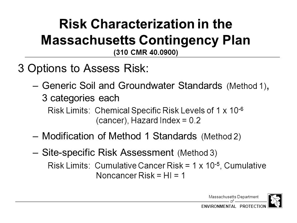 Risk Characterization in the Massachusetts Contingency Plan (310 CMR 40.0900)