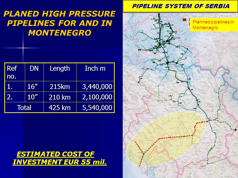 PLANED HIGH PRESSURE PIPELINES FOR AND IN MONTENEGRO