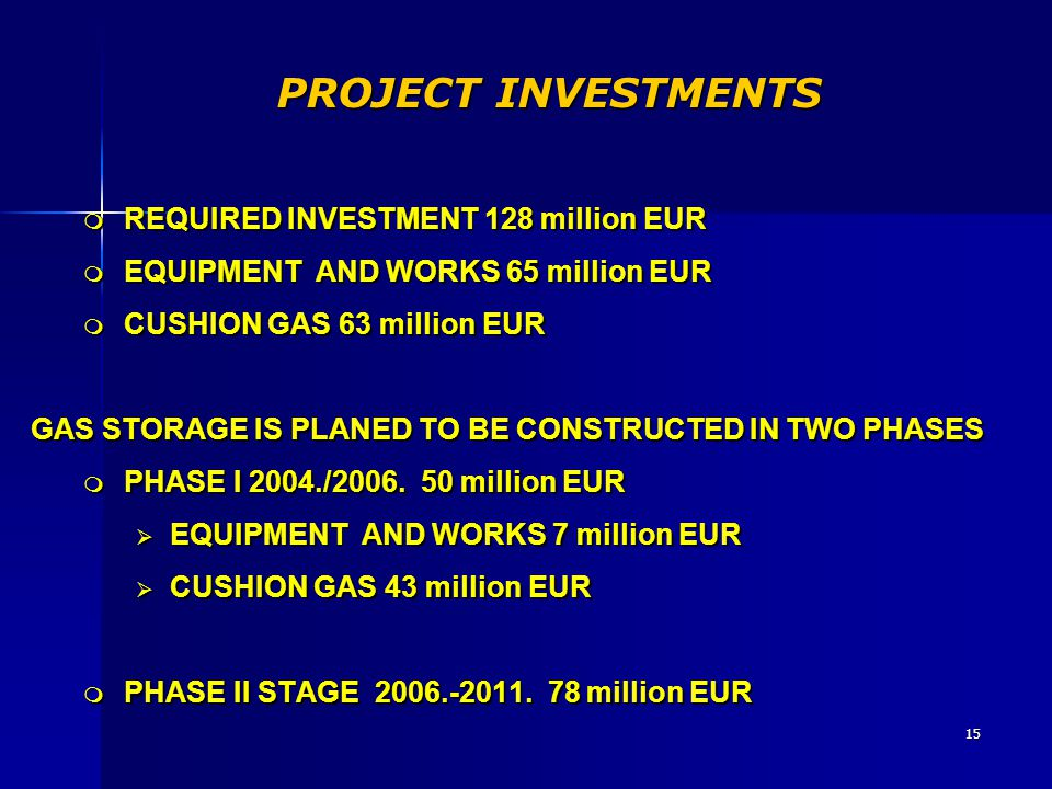 PROJECT INVESTMENTS REQUIRED INVESTMENT 128 million EUR
