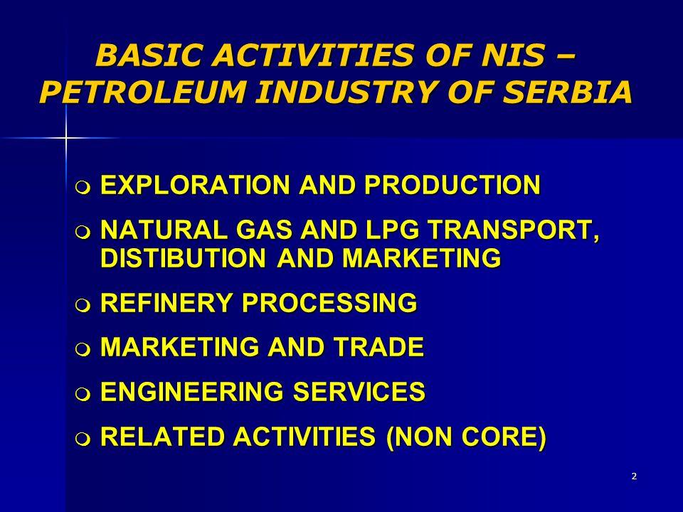 BASIC ACTIVITIES OF NIS – PETROLEUM INDUSTRY OF SERBIA
