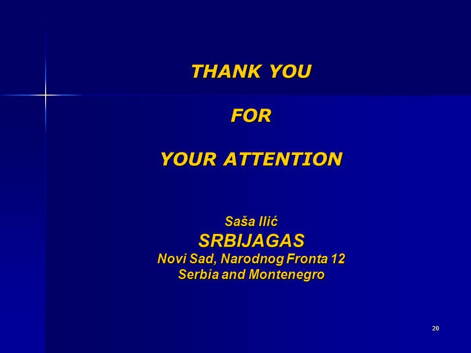 THANK YOU FOR YOUR ATTENTION Saša Ilić SRBIJAGAS Novi Sad, Narodnog Fronta 12 Serbia and Montenegro