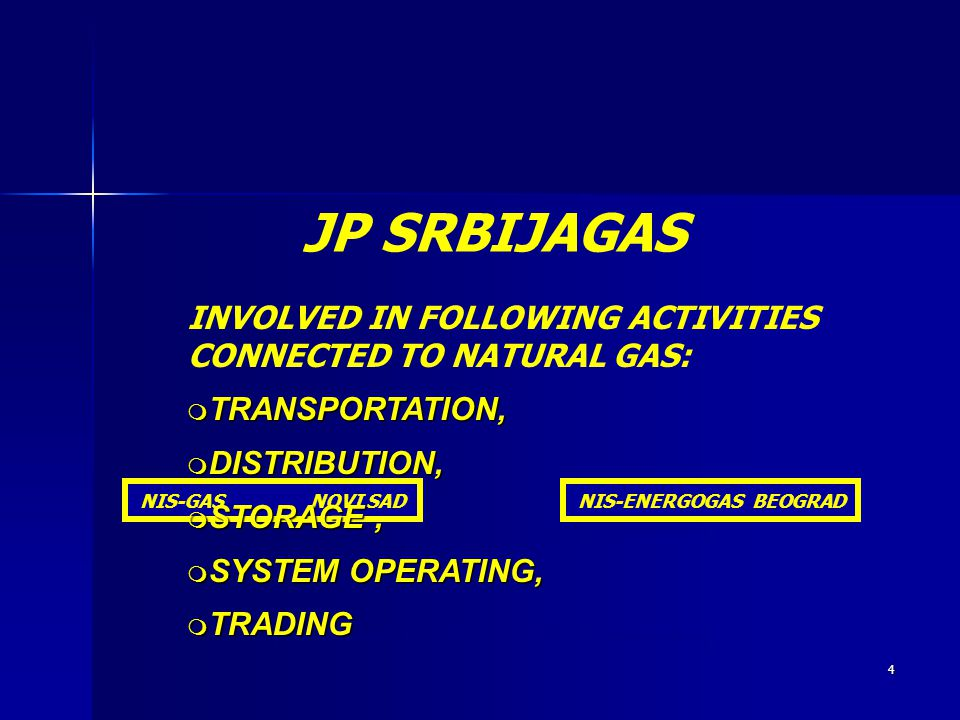 JP SRBIJAGAS INVOLVED IN FOLLOWING ACTIVITIES CONNECTED TO NATURAL GAS: TRANSPORTATION, DISTRIBUTION,