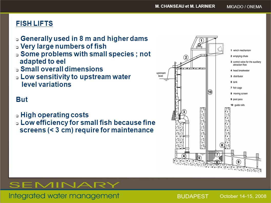 Generally used in 8 m and higher dams Very large numbers of fish