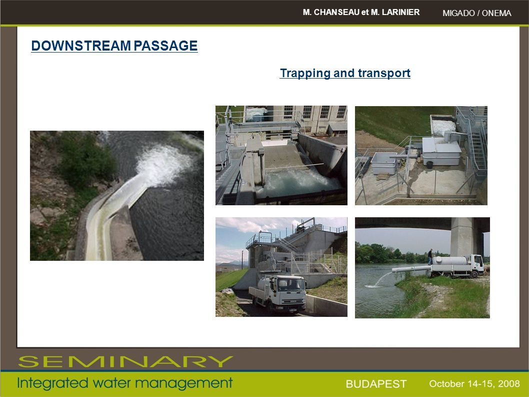 DOWNSTREAM PASSAGE Trapping and transport M. CHANSEAU et M. LARINIER
