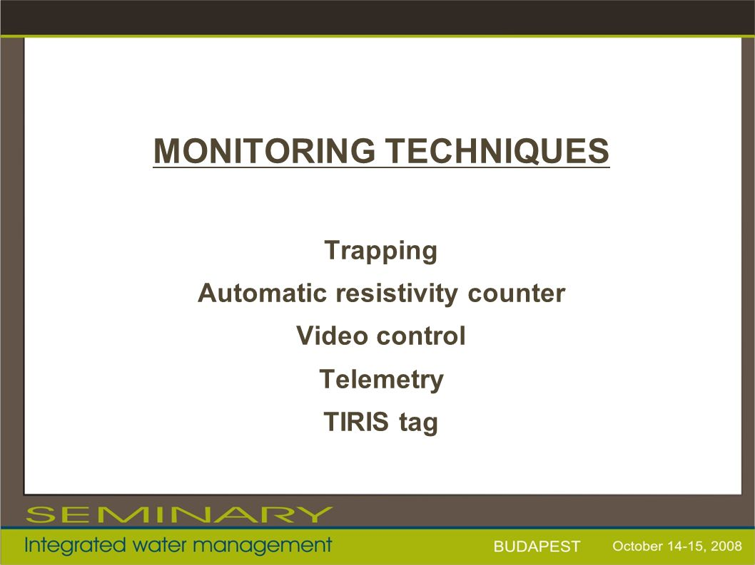 MONITORING TECHNIQUES Automatic resistivity counter