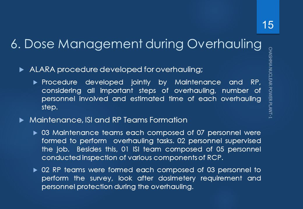6. Dose Management during Overhauling