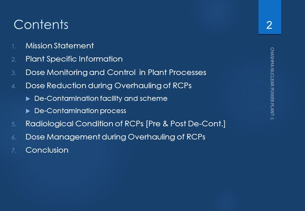 Contents Mission Statement Plant Specific Information