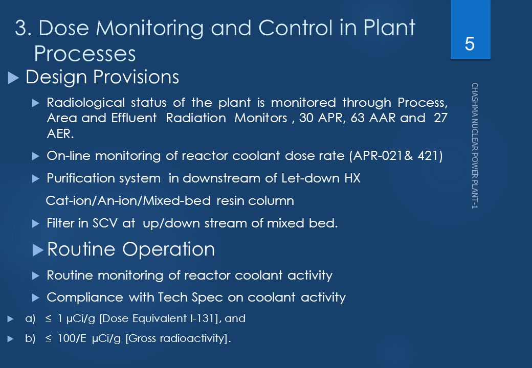 3. Dose Monitoring and Control in Plant Processes