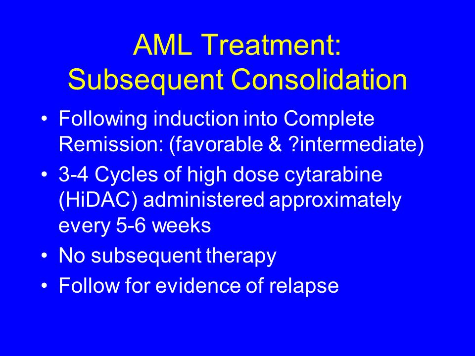 AML Treatment: Subsequent Consolidation