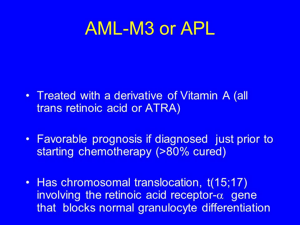AML-M3 or APL Treated with a derivative of Vitamin A (all trans retinoic acid or ATRA)