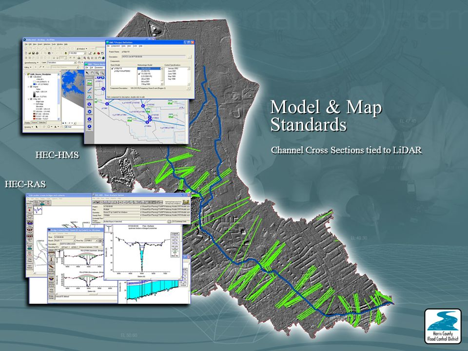 Model & Map Standards Channel Cross Sections tied to LiDAR HEC-HMS