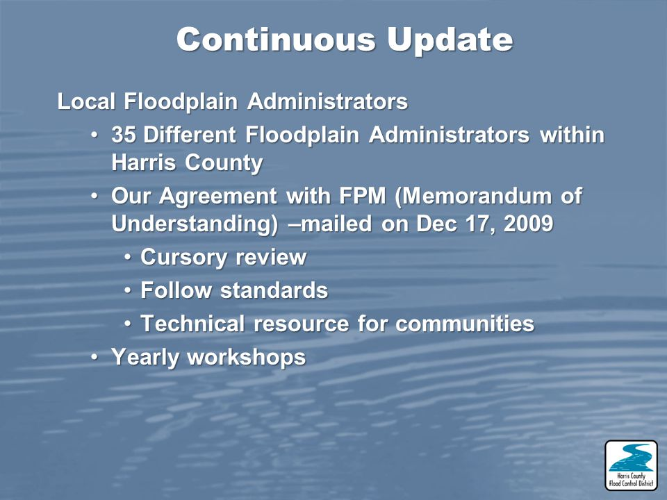 Continuous Update Local Floodplain Administrators