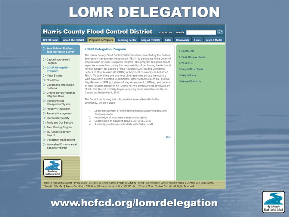 LOMR DELEGATION www.hcfcd.org/lomrdelegation