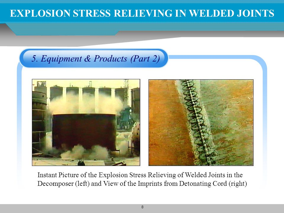 EXPLOSION STRESS RELIEVING IN WELDED JOINTS