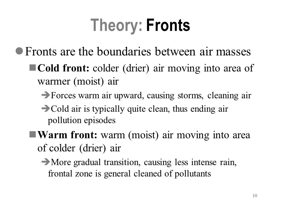 Theory: Fronts Fronts are the boundaries between air masses