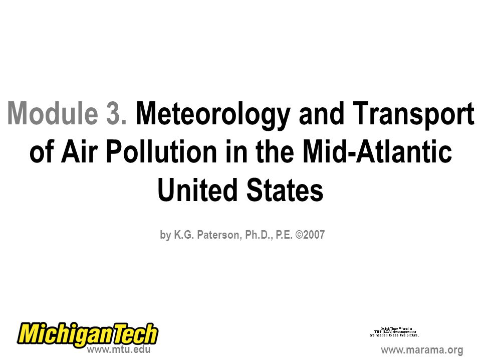 Module 3. Meteorology and Transport of Air Pollution in the Mid-Atlantic United States