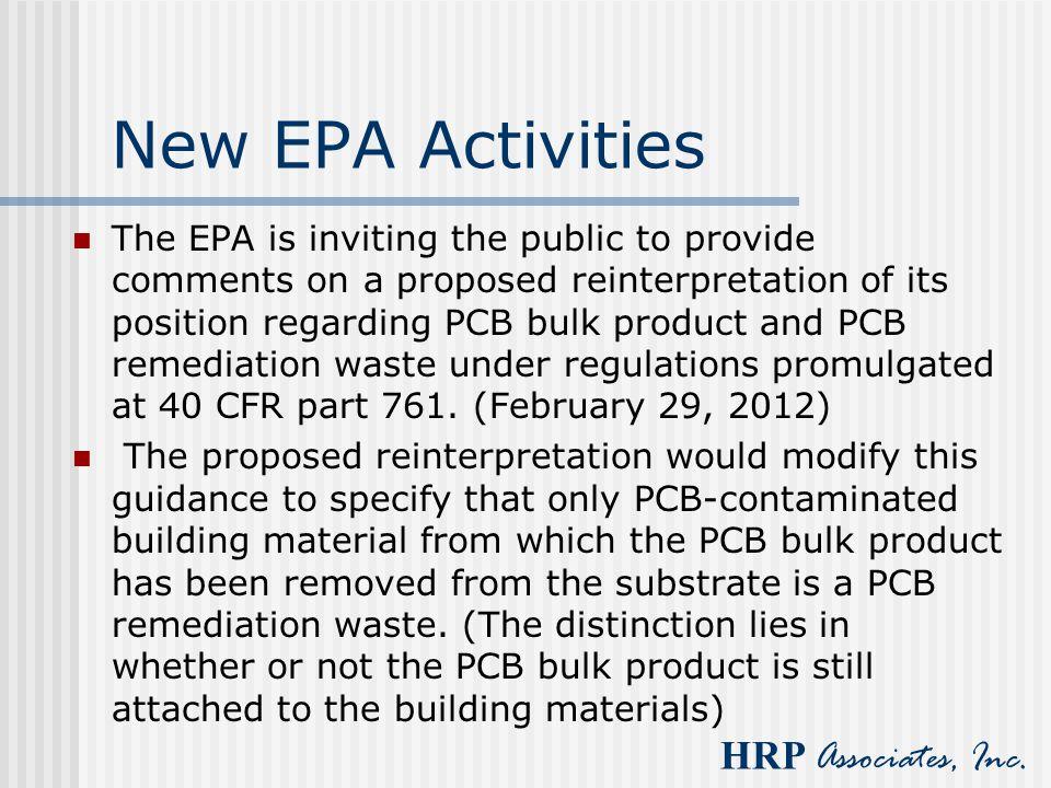 New EPA Activities