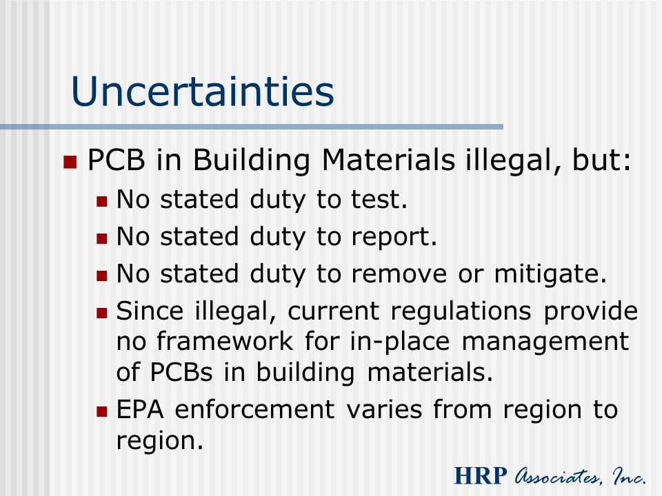 Uncertainties PCB in Building Materials illegal, but: