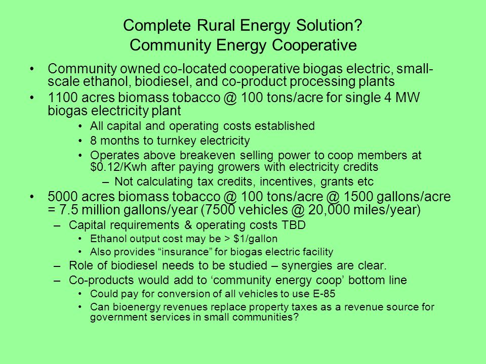 Complete Rural Energy Solution Community Energy Cooperative