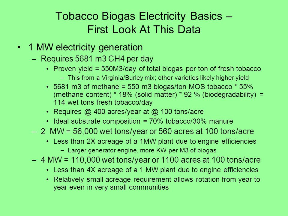 Tobacco Biogas Electricity Basics – First Look At This Data