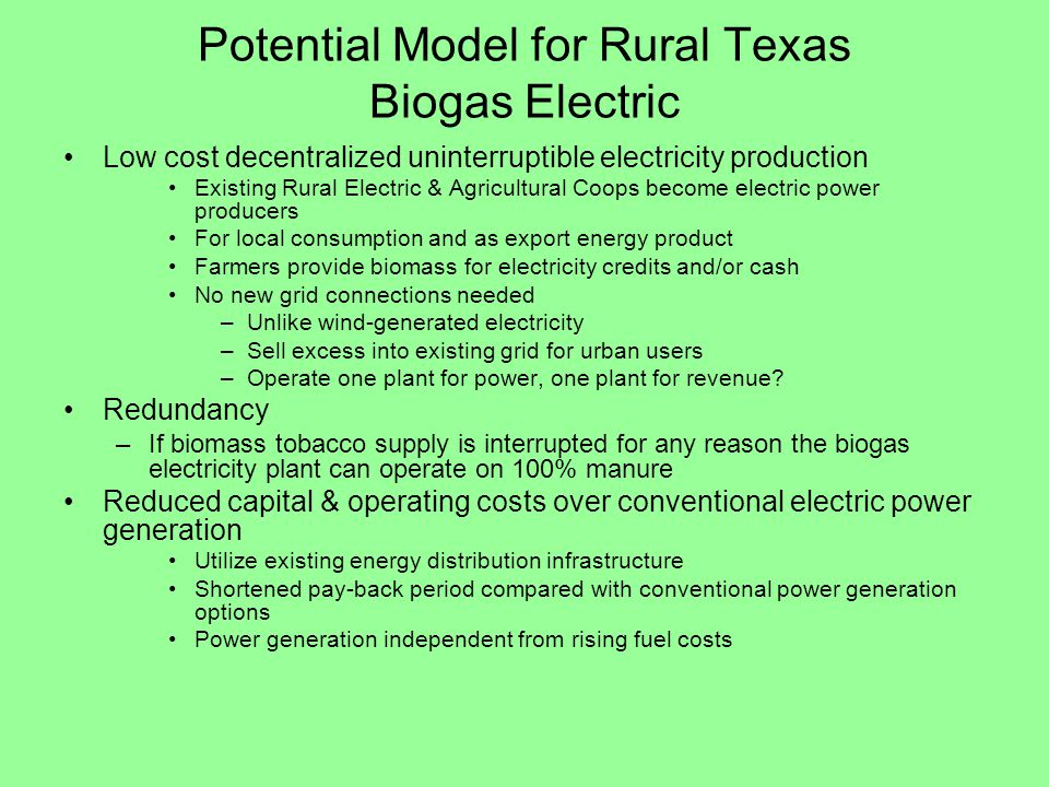Potential Model for Rural Texas Biogas Electric