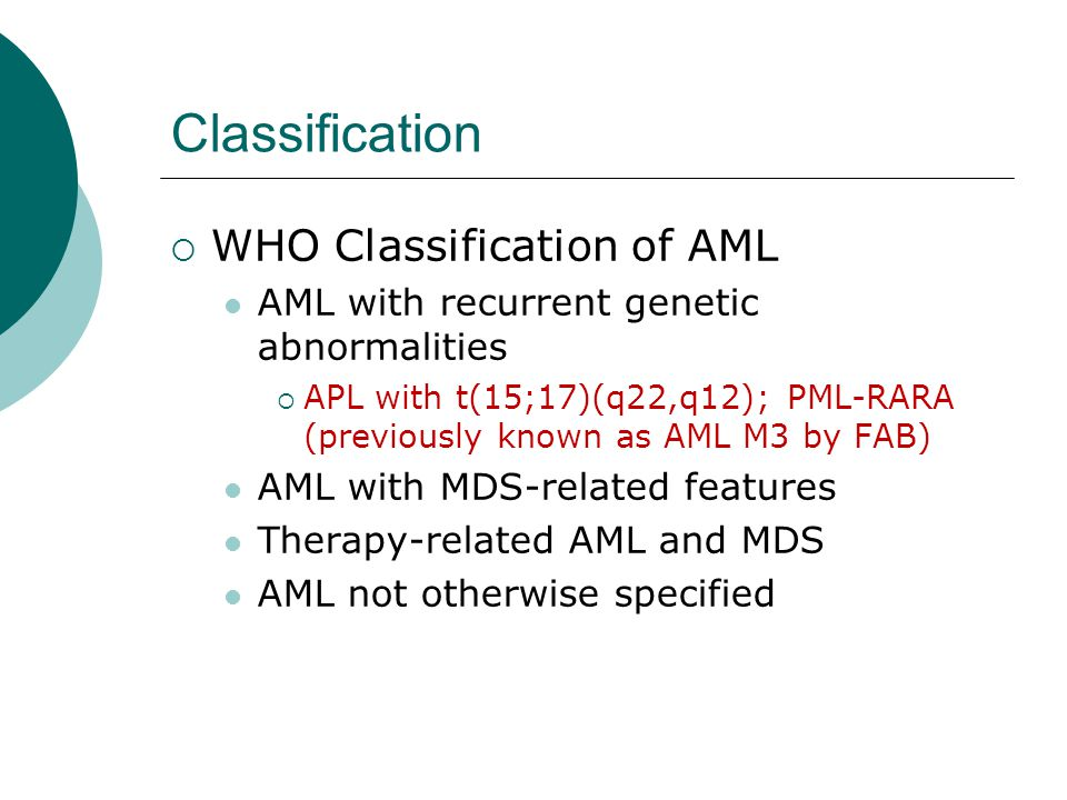 Classification WHO Classification of AML