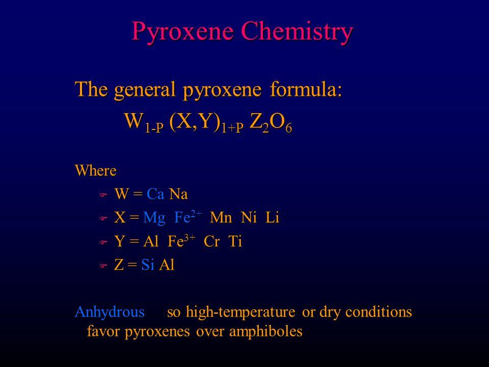 Pyroxene Chemistry The general pyroxene formula: W1-P (X,Y)1+P Z2O6