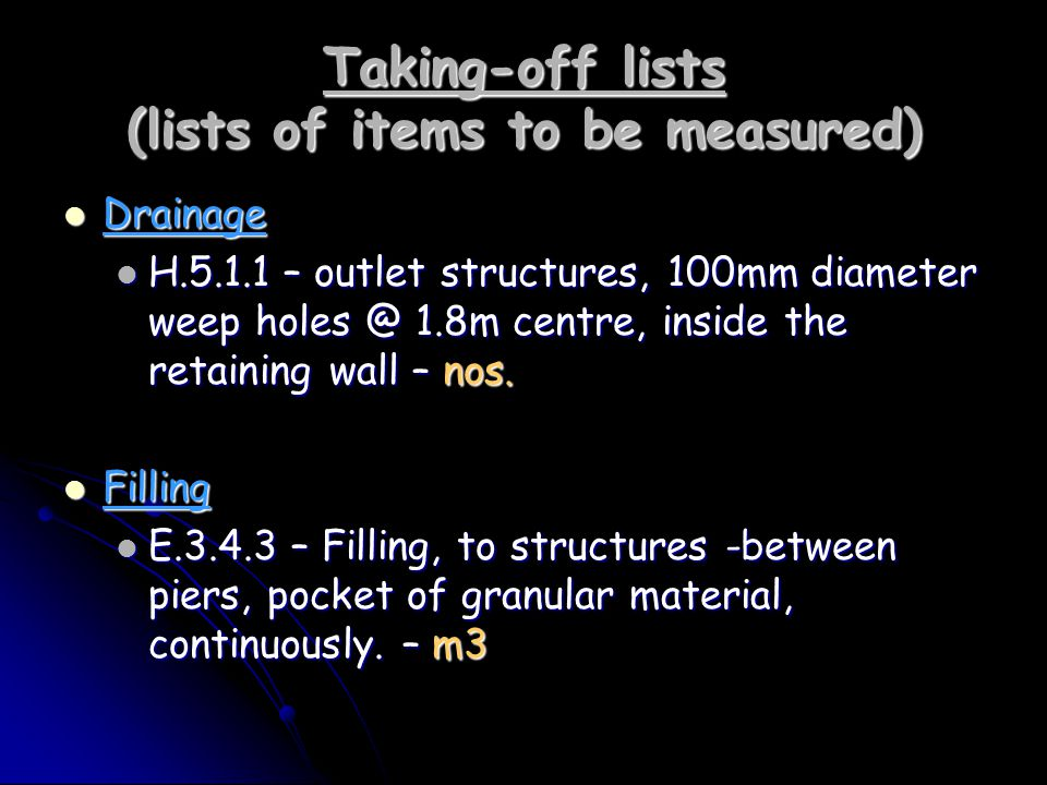 Taking-off lists (lists of items to be measured)